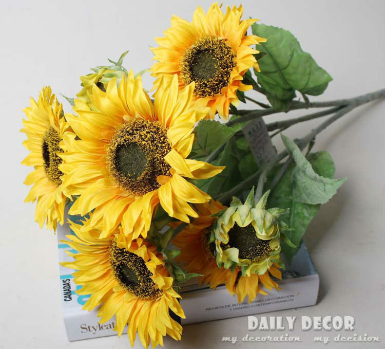 Wholesale High Q 9 Forks High Simulation Fake Yellow Sunflower
