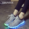 Fly Weave Fashion USB Charge LED Shoes with Light Up Glowing Casual Shoes Kids Children Luminous Sneakers Basket Femme Boys