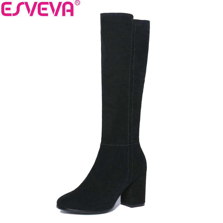ESVEVA 2019 Women Boots Zipper Short Plush Knee-high Boots Round Toe Winter Shoes Square High Heels PU Boots Woman Size 34-43 esveva 2018 women boots square high heels boots pu cow leather short plush pointed toe knee high boots ladies boots size 34 42