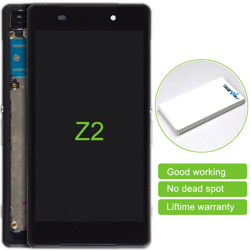 2 pcs New LCD Display + Touch Screen with frame White Assembly Replacement Part for Sony Xperia Z2 L50W D6503 D6502