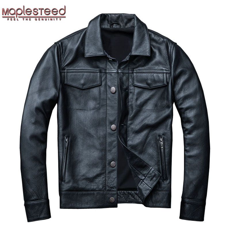 MAPLESTEED Brand Men's Leather Jacket Man Real Skin Coat 100% Cowhide Black Genuine Leather Jacket Men Winter Coat Autumn M163