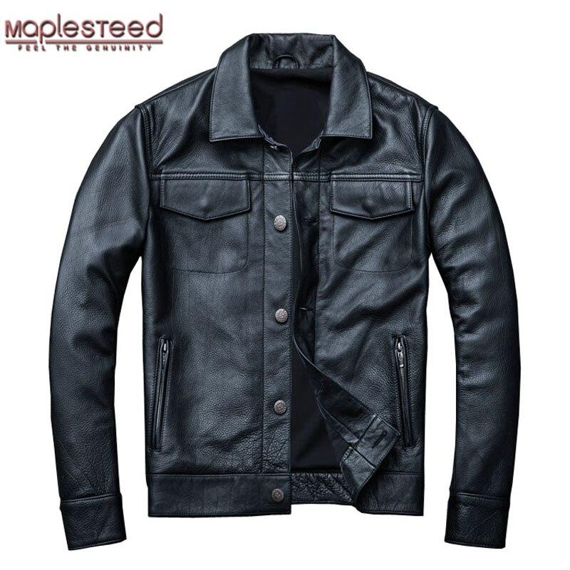 MAPLESTEED Brand Men's Leather Jacket Man Real Skin Coat 100% Cowhide Black Genuine Leather Jacket Men Winter Coat Autumn M163
