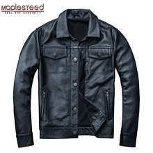 MAPLESTEED Brand Mens Leather Jacket Man Real Skin Coat 100% Cowhide Black Genuine Leather Jacket Men Winter Coat Autumn M163