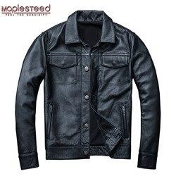 MAPLESTEED Marke herren Leder Jacke Mann Echt Haut Mantel 100% Rindsleder Schwarz Echtes Leder Jacke Männer Winter Mantel Herbst m163