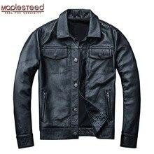 MAPLESTEED marka męska skórzana kurtka mężczyzna prawdziwa skóra płaszcz 100% skóra bydlęca czarne prawdziwa skóry kurtka mężczyźni płaszcz zimowy jesień M163