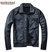 Mapesteed marca chaqueta de cuero para hombre abrigo de piel Real para hombre 100% piel de vaca chaqueta de cuero genuino negro para hombre abrigo de invierno otoño M163