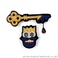 Blue Beard King S Keys Lithuania Superior Quality Pins For Clothes Metal Silk Handmade Embroidery Gremio