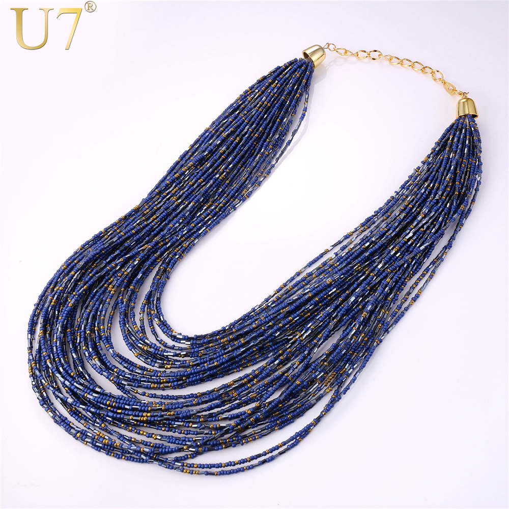 U7 African Bead Necklace Women Fashion Jewelry Wholesale Trendy Colorful Bead Statement Necklaces Women N527 dandie fashionable necklace with orange acrylic bead elegant weave braid bead necklace jewelry for women
