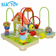 SUKIToy Wooden Classic Baby Toy Wooden Toy Wooden Bead Maze labyrinth Child Beads Educational Toys Birthday Gift High Quality