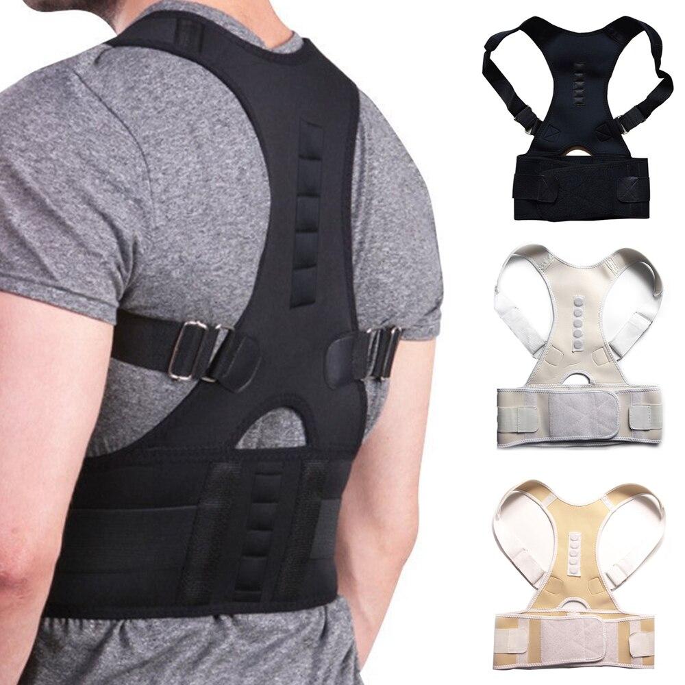 Hombre mujer ajustable postura magnética corsé Back Brace Back ayuda Lumbar de la correa Corrector de espalda S-XXL