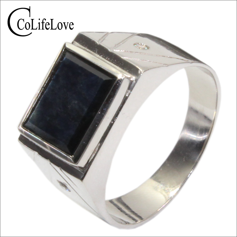 Classic design 8 mm * 10 mm 3 ct natural black sapphire ring for man solid 925 Silver sapphire gemstone ring jewelry for man