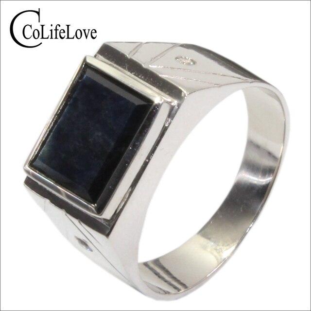 3e4d7ba82983 Diseño clásico 8mm   10 Mm 3 CT natural negro zafiro anillo para hombre  sólido plata