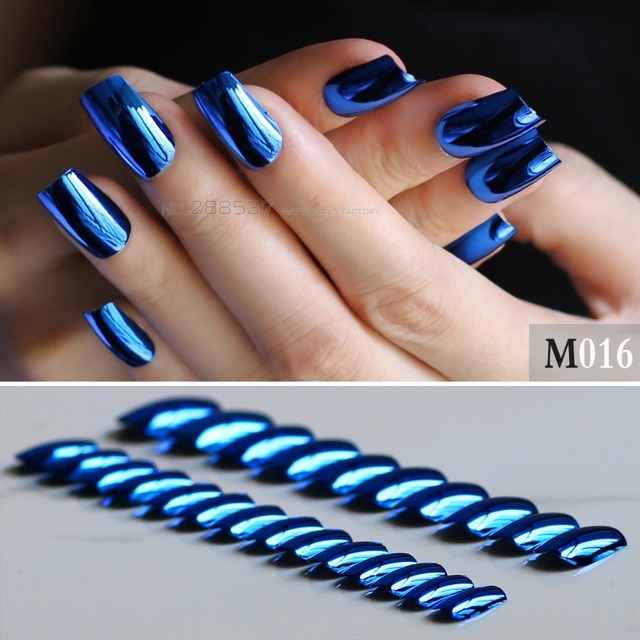 24PCS Full Sets Navy blue color fake nails Metal texture mirror sky ...