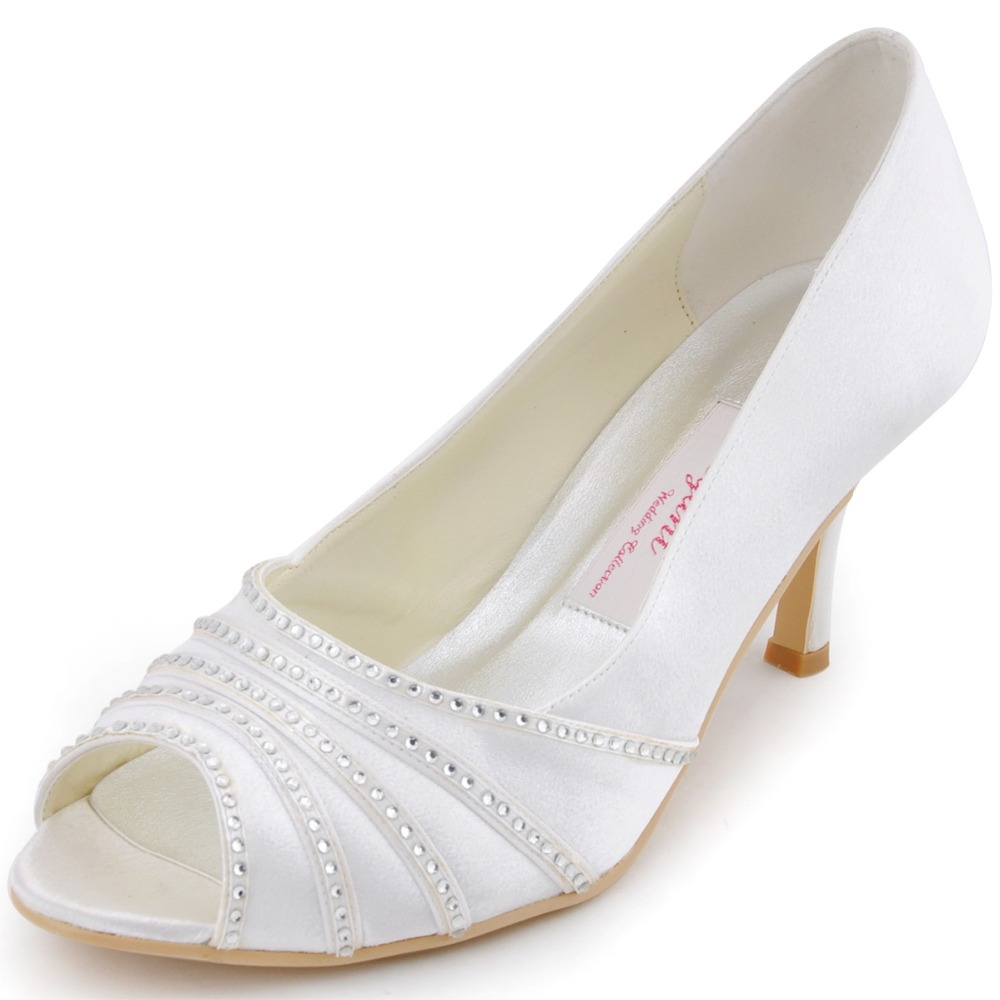 7e7597ade4 Aliexpress.com : Buy EP11051 Women Wedding Shoes White Ivory Bridal Prom  Party Pumps Peep Toe High Heels Rhinestones Satin bride bridesmaids lady  from ...
