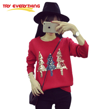 Try Everything Red Christmas Jumpers Ladies Pullover 2017 Winter Sequined Tree Beading Pearl Christmas Sweater Women Clothing