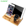FLOVEME Luxury Natural Genuine Wood Charging Dock Desk Stand Phone Holder For Apple iPhone 6 6s 7 Plus For Apple Watch For ipad
