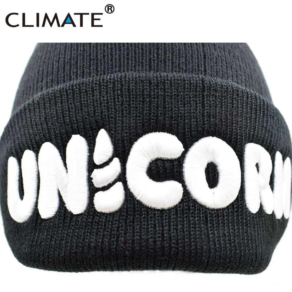 ff4e6291da8 ... CLIMATE Women Men Unicorn Winter Warm Beanie Hat Unicorn Black HipHop  Soft Knitted Hat For Adult ...