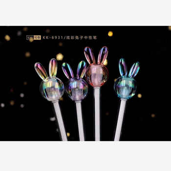 48 pcs Gel Pens Crystal rabbit black colored gel-ink pens for writing Cute stationery office school supplies 0.5mm