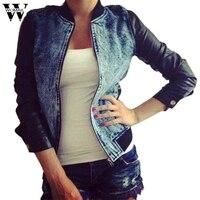 Womail Long Sleeve Zipper Leather Denim Jacket Womens Winter Short Bomber Jacket Denim Jackets OT13
