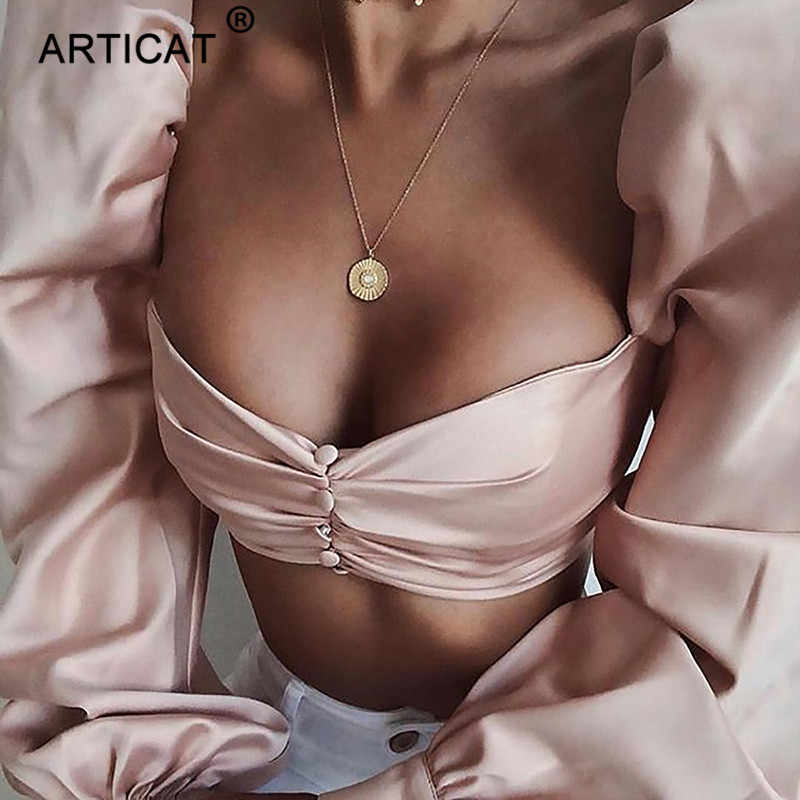 Articat Liebsten Sexy Sommer Crop Top Frauen T Shirt Langarm Backless Plissiert Kurzen Frauen Top Rosa Damen Casual Shirt 2019