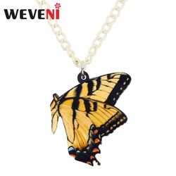 WEVENI Acrylic Papilio Machaon Butterfly Necklace Pendant Chain Collar Animal Insect Jewelry For Women Girls Teen Gift Dropship