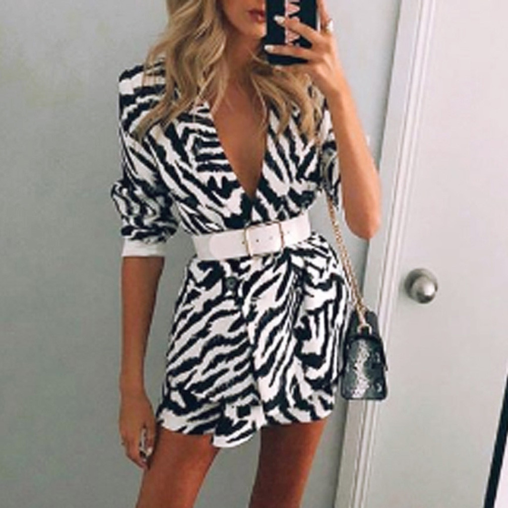 Women zebra Long Sleeve Blazer Print Front Cardigan Suit Jacket Work Office Knit V-neck long Blazer