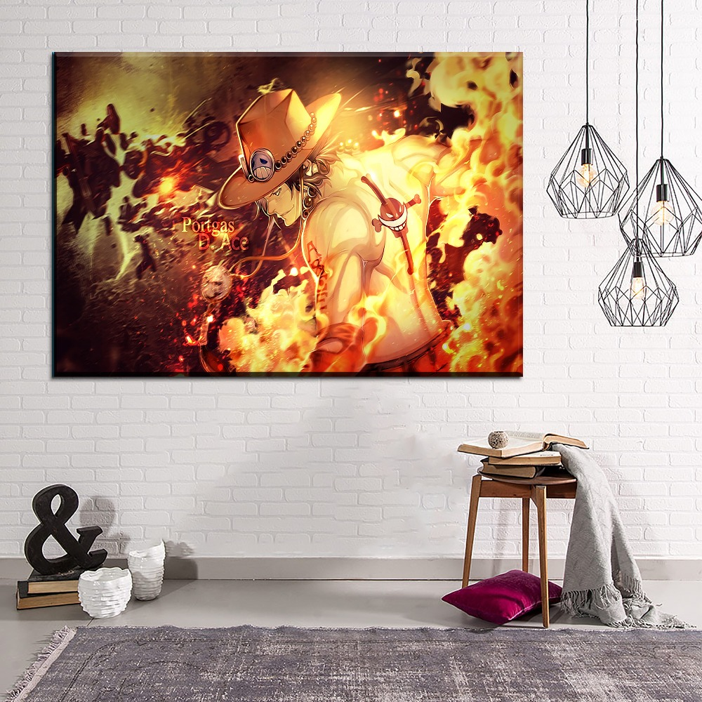 Terrific Us 3 08 55 Off Canvas Printed Wall Art Animation One Piece Painting Modern Home Decor Living Room 1 Pieces Fire Portgas D Ace Artwork Poster In Download Free Architecture Designs Scobabritishbridgeorg