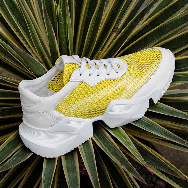 Prova Perfetto Plus Size 35 42 Platform Schoenen Vrouwen Mode Geel Sneakers Vrouwen Dikke Zool Chunky Witte Schoenen Mesh papa Schoenen-in Sneakers voor vrouwen van Schoenen op  Groep 2