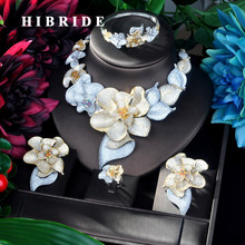 HIBRIDE Big Flower Double Tone Pendant Gold Color Luxury Women Jewelry Set For Bridal Party Accessories Jewelry Gifts N-921(China)