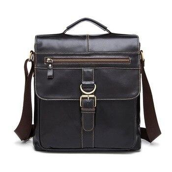 Factory Outlet Genuine Leather Messenger Bags Retro Soft Face Men Wear Magnetic Clapper Shoulder Vertical Men's Leather Bag