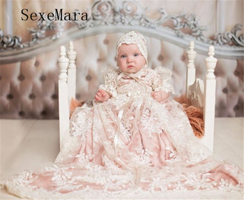 New Baby Girls Christening Gown Baptism Dress Infant Toddler Clothes Lace Applique Blush Heirloom Gown set with Headpiece heirloom baptism dress baby girls royal christening gown floor length short sleeve o neck baby girls birthday gown with ribbon