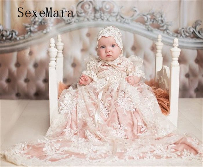 New Baby Girls Christening Gown Baptism Dress Infant Toddler Long Ivory Lace Applique Blush Heirloom Gown set with Headpiece heirloom baptism dress baby girls royal christening gown floor length blush ivory lace baby girls birthday gown with headpiece