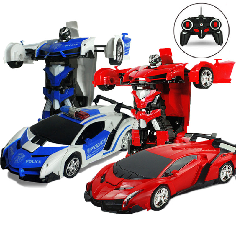 RC Cars Toy On The Remote Control Cops Vehicle Radio Control Transformation Cars Toys For Boys Children Kids Gift