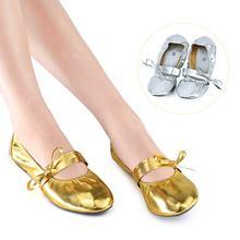 454dacb5c Цвета: золотистый, серебристый обувь для танцы живота девочек Для женщин  балетки обувь резиновая подошва