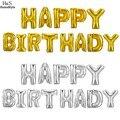 Homdox 1 Conjunto 13 letras Balões Feliz Aniversário Folha De Alumínio Membrana 1 Conjunto Decoração Do Partido de Prata/Ouro