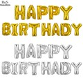 Homdox 1 Set 13 letters Happy Birthday Aluminum Foil Membrane Balloons 1 Set Party Decoration Silver/Gold