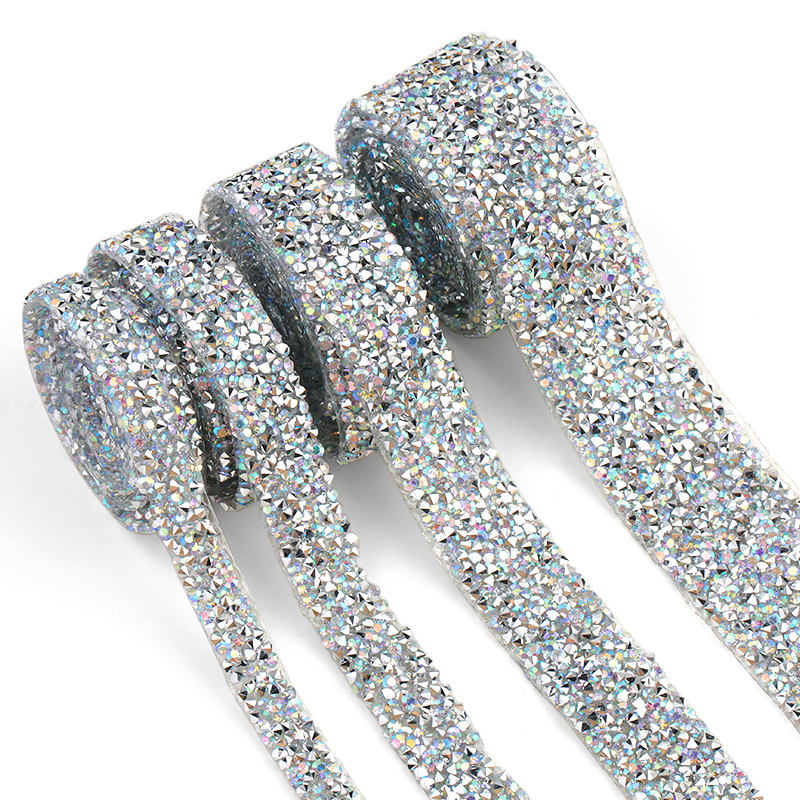 1 Yard Trim Patches Crystal AB Strass Hot Fix Rhinestone Tape Applicator Ribbon With Rhinestones Iron On Appliques For Dresses