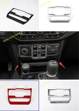 Lapetus Middle Control Air AC Molding Garnish Cover Trim Red / Matte / Bright / Carbon Fiber ABS For Jeep Wrangler JL 2018 2019 lapetus accessories for toyota camry 2018 2019 matte carbon fiber abs front head light switches button molding cover kit trim