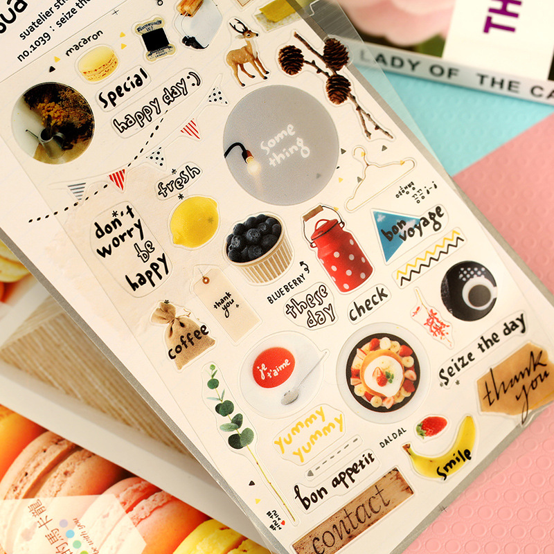 DIY Colorful Seize today kawaii Stickers Diary Planner Journal Note Diary Paper Scrapbooking Albums PhotoTag