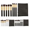 PU Black Makeup Bag Case + 10Pcs Brushes Tool Powder Foundation blush Brush makeup cosmetic brush kits