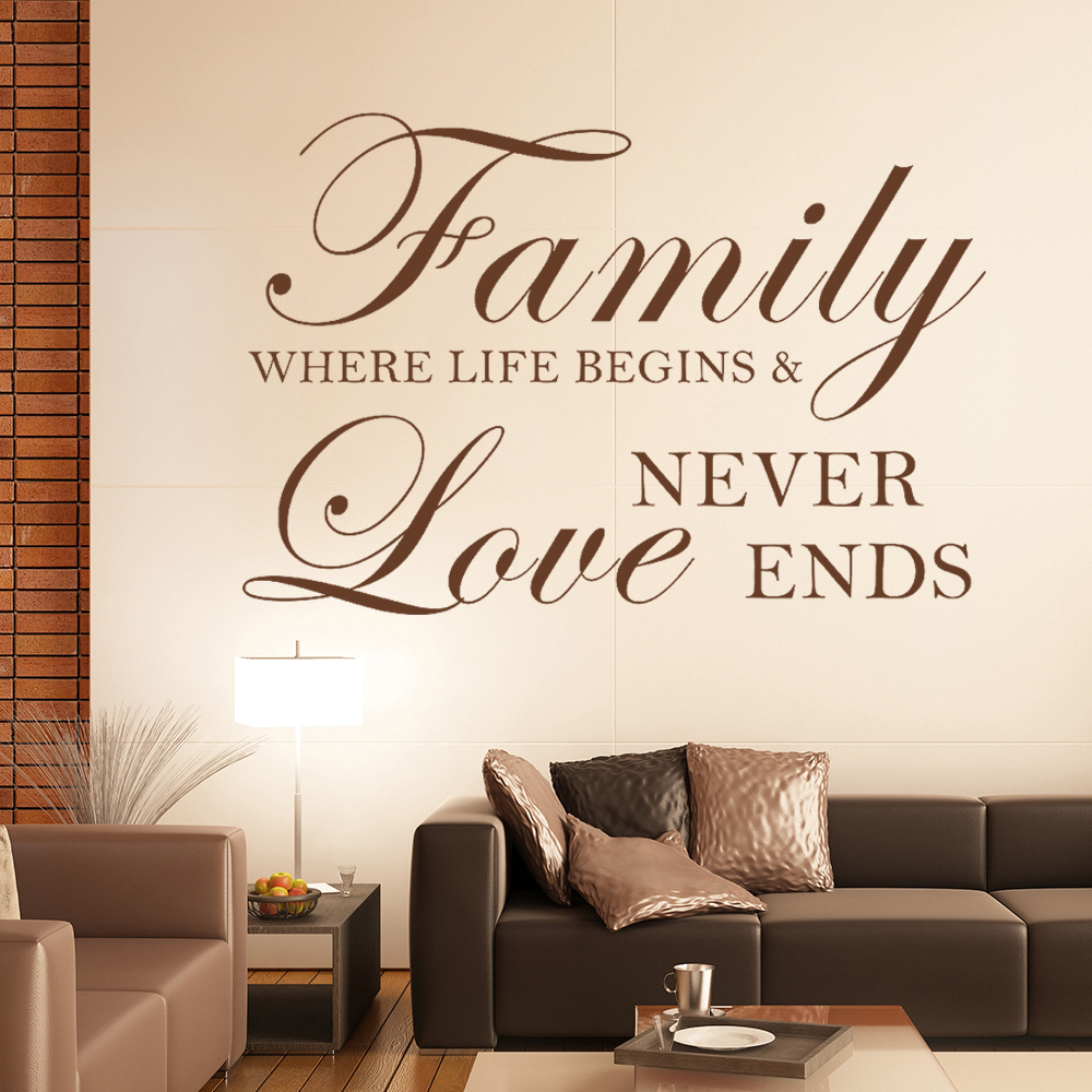 Family Where Life Begins And Love Never Ends - Inspirational Family Wall Decal Quote Home Removable Wall Decor 15 x 23XS