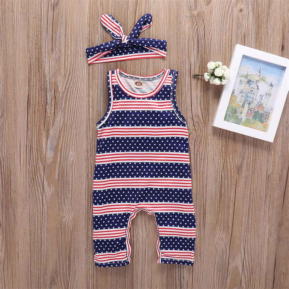 Children Kids Girl Boy Bodysuit Jumpsuit Jumper Striped Sleeveless Headband Set Summer Outfits AN88