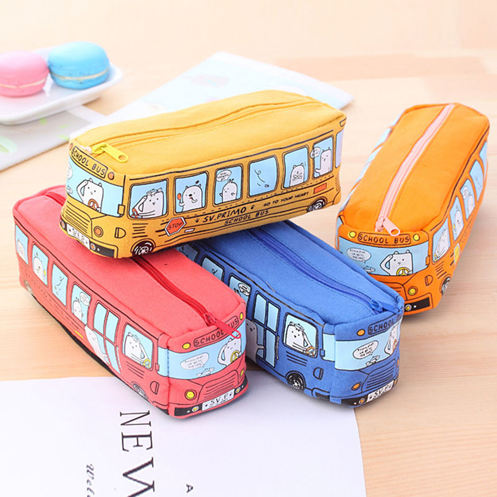 School Bus Travel Cosmetic Bags Makeup Brush Handbag Pouch Beauty BB Cream Bath Wash Toothbrush Make Up Brush Holder Bag image