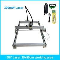 300 МВт рабочего DIY Лазерный гравер гравировка с ЧПУ принтер 35*50 см рабочая зона
