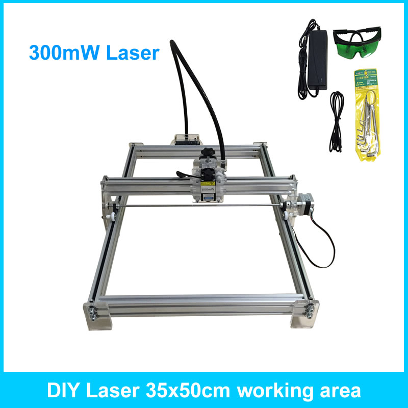 300mW Desktop DIY Laser Engraver Engraving Machine CNC Printer 35*50cm Working Area dk bl 1500mw laser power diy laser engraving machine desktop art laser engraver printer bluetooth 4 0 6000mah