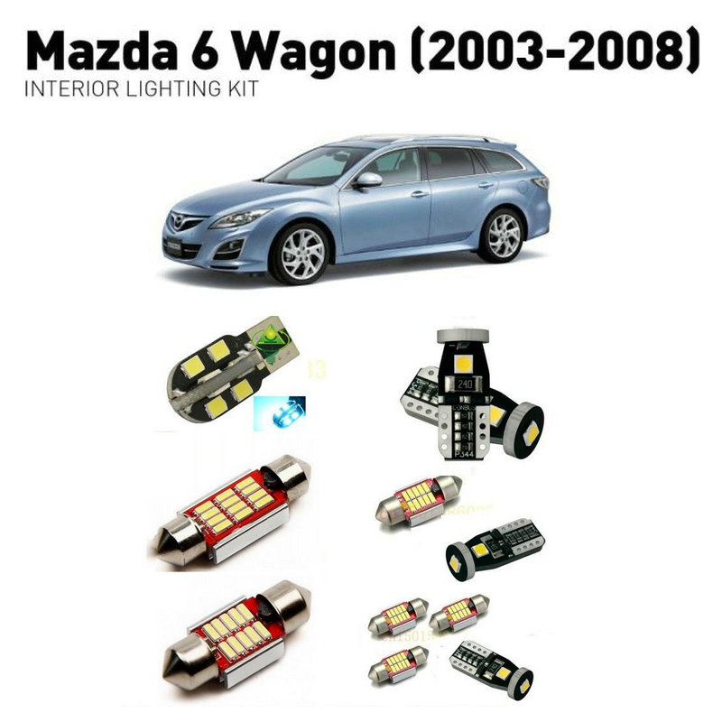 Led interior lights For <font><b>mazda</b></font> <font><b>6</b></font> <font><b>wagon</b></font> 2003-2008 14pc Led Lights For Cars lighting kit automotive bulbs Canbus image