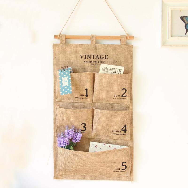 Vintage Jute Cotton Linen multilayer Closet Bag suspension Numbers sundry 5Pockets Wall Hanging Desktop Organizer Holder