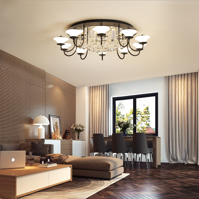 American Living Room Light Simple Modern Atmosphere Home led Ceiling Light Personality Restaurant Bedroom Lamp Net Crystal Lamps|Ceiling Lights| |  - title=