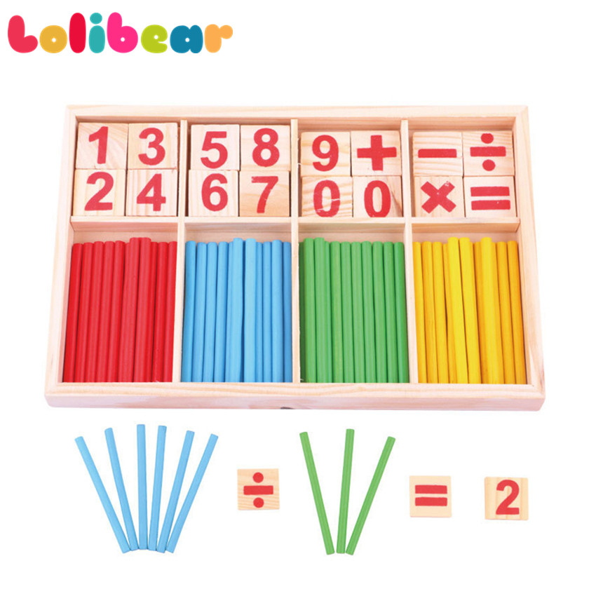 Montessori Wooden Math Toy Colorful Counting Sticks Digital Number Blocks Education Comp ...