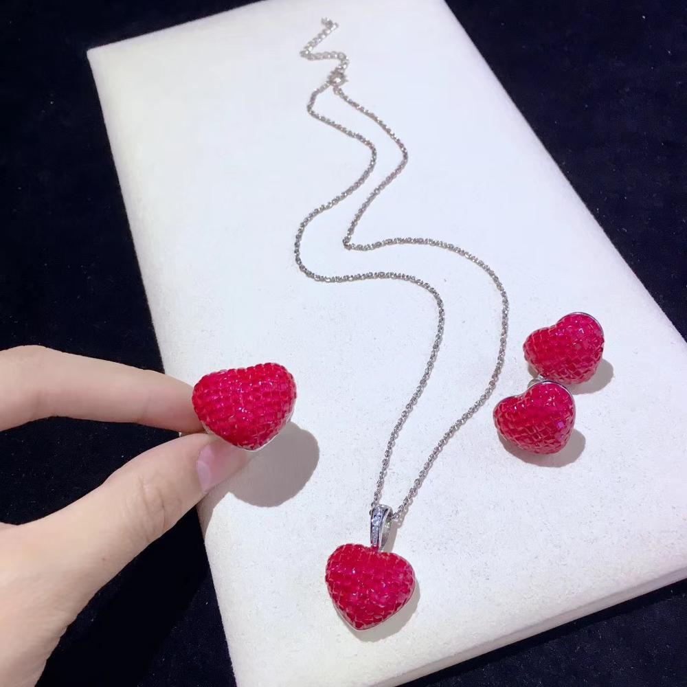 Ювелирный Набор из стерлингового серебра 925 пробы с кубическим цирконием, кулон в виде сердца, кольцо и серьги, модные женские ювелирные изд...